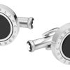 116664 - Cufflinks, round in stainless steel with onyx inlay with rotating ring_1835247