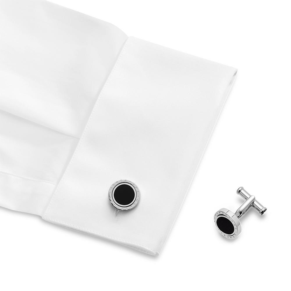 116664 - Cufflinks, round in stainless steel with onyx inlay with rotating ring_1847082